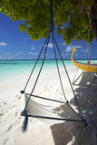 Swing and Traditional Boat on Tropical Beach  Maldives  Indian Ocean  Asia
