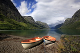 Boats Pulled Up by a Fjord  Songdal Region  Near Bergen  Western Norway  Scandinavia  Europe