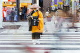Shinto Monk in Traditional Dress Collecting Alms (Donations)  Ginza  Tokyo  Honshu  Japan  Asia