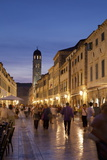 Placa  Stadun  Lit Up at Dusk with Cafes and People Walking  Dubrovnik  Croatia  Europe