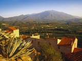 View of Mt Canigou from a Rustic Village  Pyrenees Orientales  Languedoc-Rousillon  France