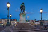Bronze Statue of the Town Founder Gustav Adolf at Dusk