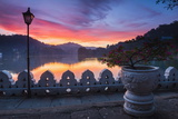 Dramatic Sunrise at Kandy Lake and the Clouds Wall (Walakulu Wall)