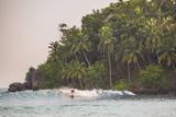Surfer Surfing at Sunset at Mirissa Beach  South Coast  Sri Lanka  Southern Province  Asia