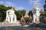 Elephant Statues at Entrance to the Thanboddhay Paya (Pagoda)