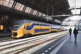 Intercity Train in a Platform at Central Station  Amsterdam  Netherlands  Europe