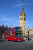 Motion Blurred Red London Bus Below Big Ben