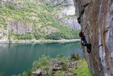 A Female Climber Tackles a Steep Cliff at Loven  Near Aurland  Western Norway  Scandinavia  Europe
