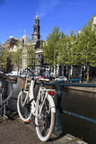 Bicycles by the Canal  Amsterdam  Netherlands  Europe