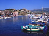 Sailboats Moored at Molyvos Harbour  Lesvos  Greece
