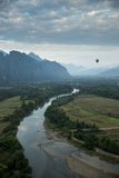 View from Hot Air Balloon Ride  Vang Vieng  Laos  Indochina  Southeast Asia  Asia