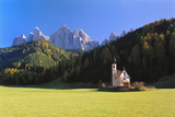 St Johann Church and the Dolomites in the Background  Trentino  Italy