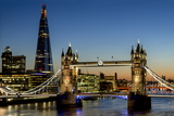 View of the Shard and Tower Bridge Standing Tall Above the River Thames at Dusk