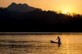 Fishing Boat on Mekong River  Luang Prabang  Laos  Indochina  Southeast Asia  Asia