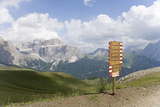 Signpost on a Footpath in the Dolomites  Italy