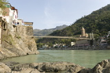 Ashrams on Banks of River Ganges  Lakshman Jhula  Rishikesh  India