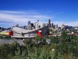Saddledome and Skyline of Calgary  Alberta  Canada