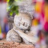 Buddhist Prayer Flags and Reclining Buddha in Nirvana at Gal Vihara Rock Temple