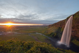 Seljalandsfoss Waterfall at Sunset  Southern Region  Iceland  Polar Regions
