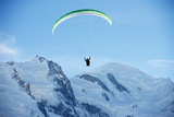 Paragliding Below Summit of Mont Blanc  Chamonix  Haute-Savoie  French Alps  France  Europe