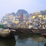 Boats Moored in Front of Ghats on the River Ganges  Varanasi  Uttar Pradesh  India