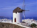 Windmill and View of Mykonos by the Coast  Cyclades  Greece