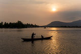 Father and Son Fishing on Kampong Bay River at Sunset