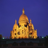 Sacre Coeur Basilica at Night  Paris  France