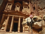 Camel and Low Angle View of the Khazneh  Petra  Jordan