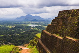 Ruins of King Kassapa's Palace in Front of the View from of Sigiriya Rock Fortress (Lion Rock)