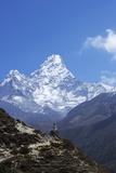 Buddhist Stupa on Trail with Ama Dablam Behind