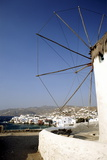 Greece  Mykonos Town  Boats in Harbour  View from Lower Windmills