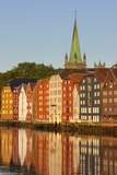 Nidaros Cathedral and Old Fishing Warehouses Reflected in the River Nidelva