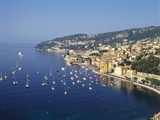 Sailing Boats Off the Coast of Villefrance-Sur-Mer  Provence  France