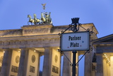 Brandenburg Gate (Brandenburger Tor) and Quadriga Winged Victory and Road Sign Pariser Platz