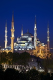 Blue Mosque (Sultan Ahmet Camii)  UNESCO World Heritage Site  at Dusk  Istanbul  Turkey  Europe