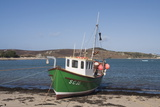 Fishing Boat on Bryer with Tresco in Background  Isles of Scilly  United Kingdom  Europe