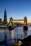 View of the Shard and Tower Bridge Above the River Thames at Dusk