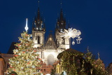 Christmas Tree and Decorations in Front of Tyn Gothic Church