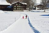 Winter Walking Trail  Klosters  Graubunden  Swiss Alps  Switzerland  Europe