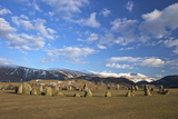 Castelrigg Megalithic Stone Circle in Winter with Helvellyn Range Behind