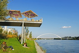 Eurovea  Restaurant on a Platform Above the Danube River  Bratislava  Slovakia  Europe