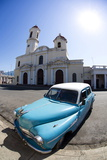Fisheye Image of Vintage American Car and Church