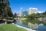 City Park Lagoon with Downtown Omaha  Nebraska  United States of America  North America