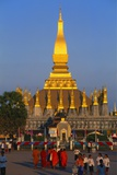 Golden Stupa at Pha That Luang Temple  Vientiane  Laos