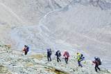 Hikers on the Matterhorn  Zermatt  Valais  Swiss Alps  Switzerland  Europe