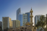 Mosque and Modern Buildings Downtown Abu Dhabi  United Arab Emirates  Middle East