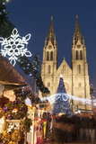 Christmas Market and Neo-Gothic Church of St Ludmila  Mir Square  Prague  Czech Republic  Europe