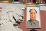 A Lion Statue and Picture of Mao Tse Dong on the Gate of Heavenly Peace Tiananmen Square  Beijing