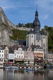 View across River Meuse Showing Collegiate Church of Notre-Dame  Dinant  Wallonia  Belgium  Europe